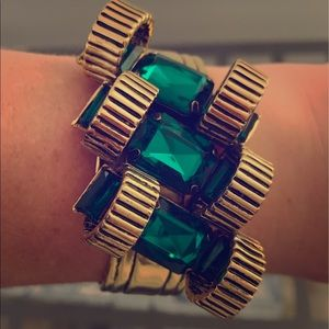 Gold and green jeweled j.crew cuff bracelet